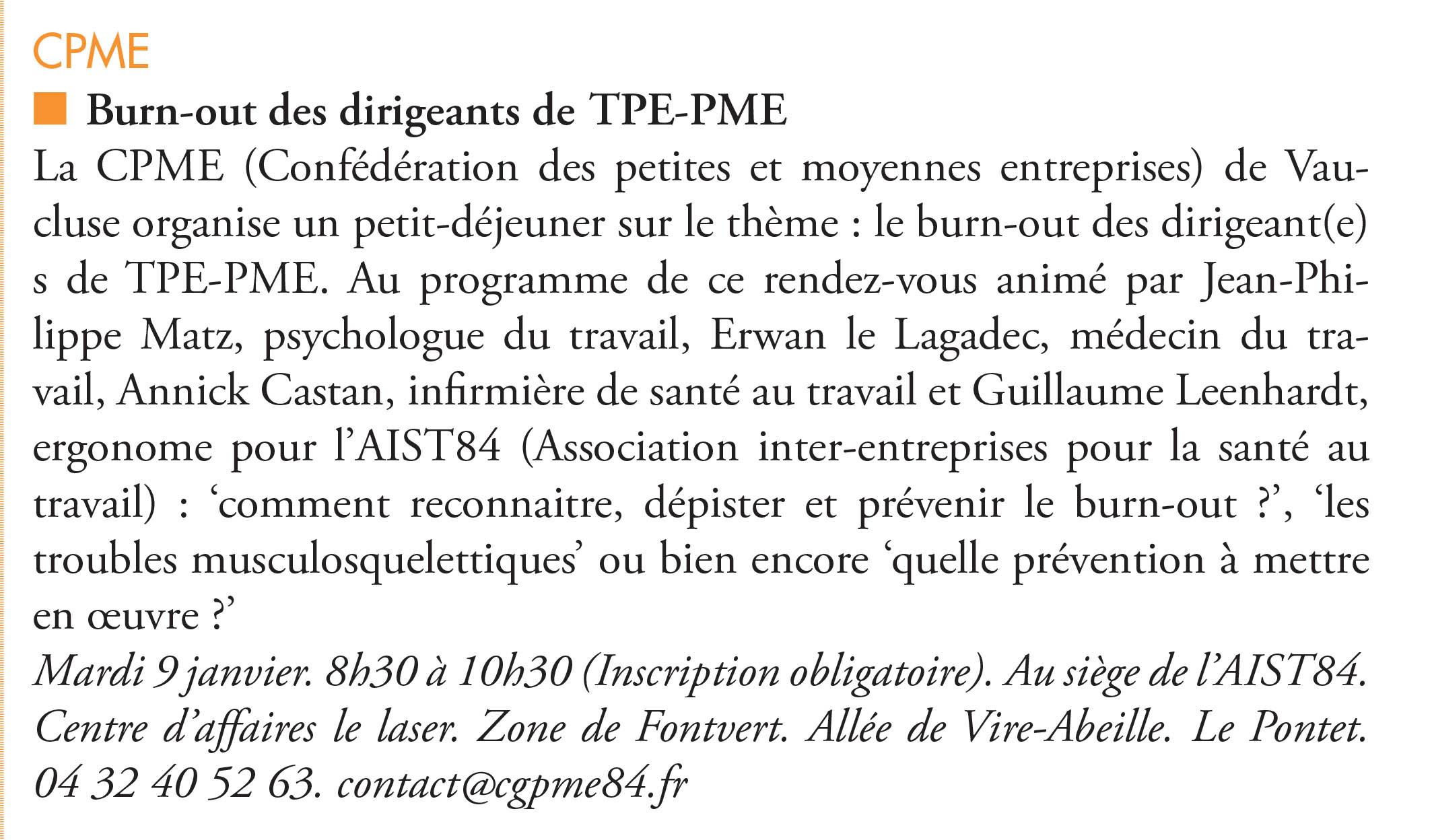 Burn-out des dirigeants de TPE-PME – L'écho du mardi 09.01.18