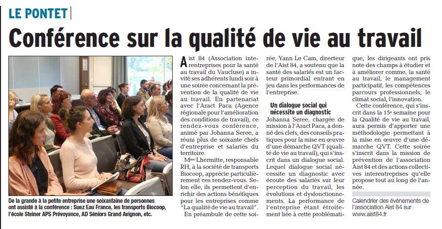 Conférence sur la qualité de vie au travail – Vaucluse Matin 12.06.2018