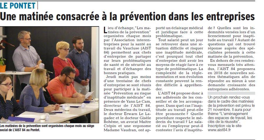 Une matinée consacrée à la prévention dans les entreprises – Vaucluse Matin 12.10.2017