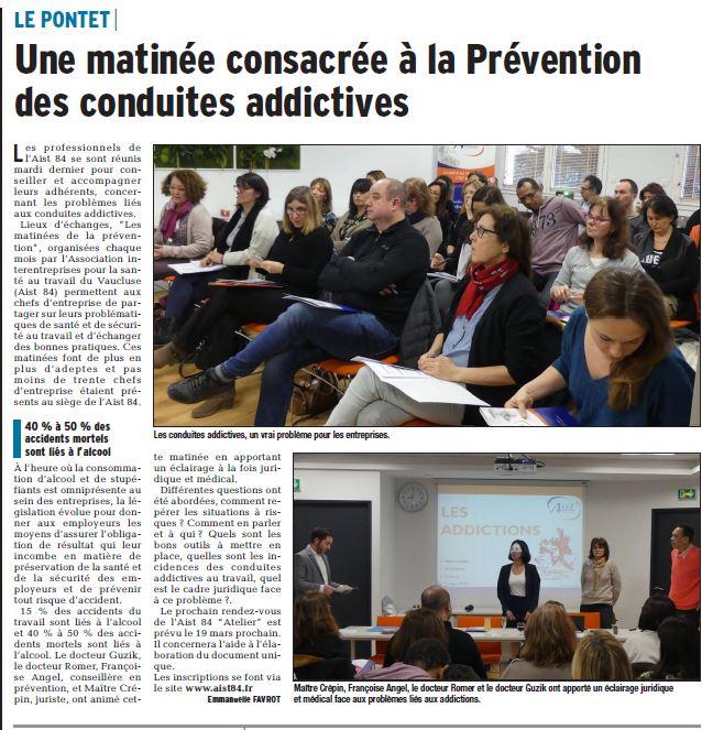 Une matinée consacrée à la prévention des conduites addictives – Vaucluse Matin 06.03.2018