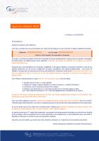 Courrier d'appel de cotisation 2020
