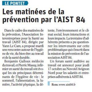 Matinée hygiène de vie sommeil et nutrition – Vaucluse Matin 12.09.19
