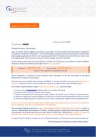 Courrier d'appel de cotisation 2021